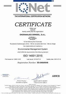 Certificado de calidad ISO 14001